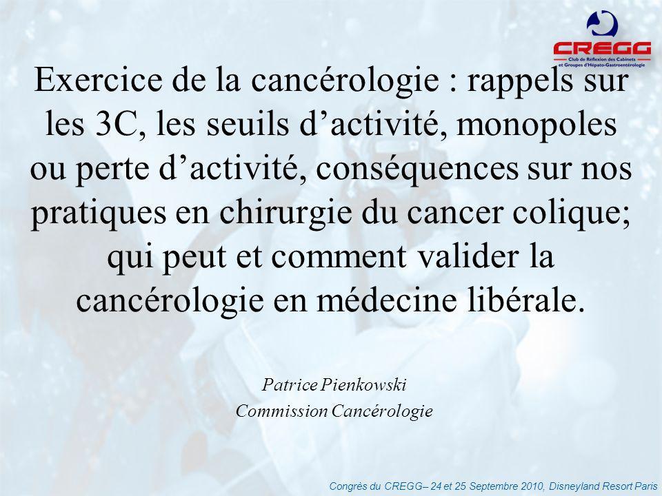 Congrès du CREGG– 24 et 25 Septembre 2010, Disneyland Resort Paris Conséquences - Etudes dimpact Etat des lieux -Juin 2010 24% des 1152 ES qui avaient en 2008 une activité en cancérologie nont pas reçu dautorisation Redéploiement dactivité : -7,8% des séjours chirurgicaux (5,7% activité en chirurgie digestive) -3,8% en CT (9300 patients) -1,7% en RT (1500 patients) Le traitement des cancers dans les établissements de santé en France en 2010.