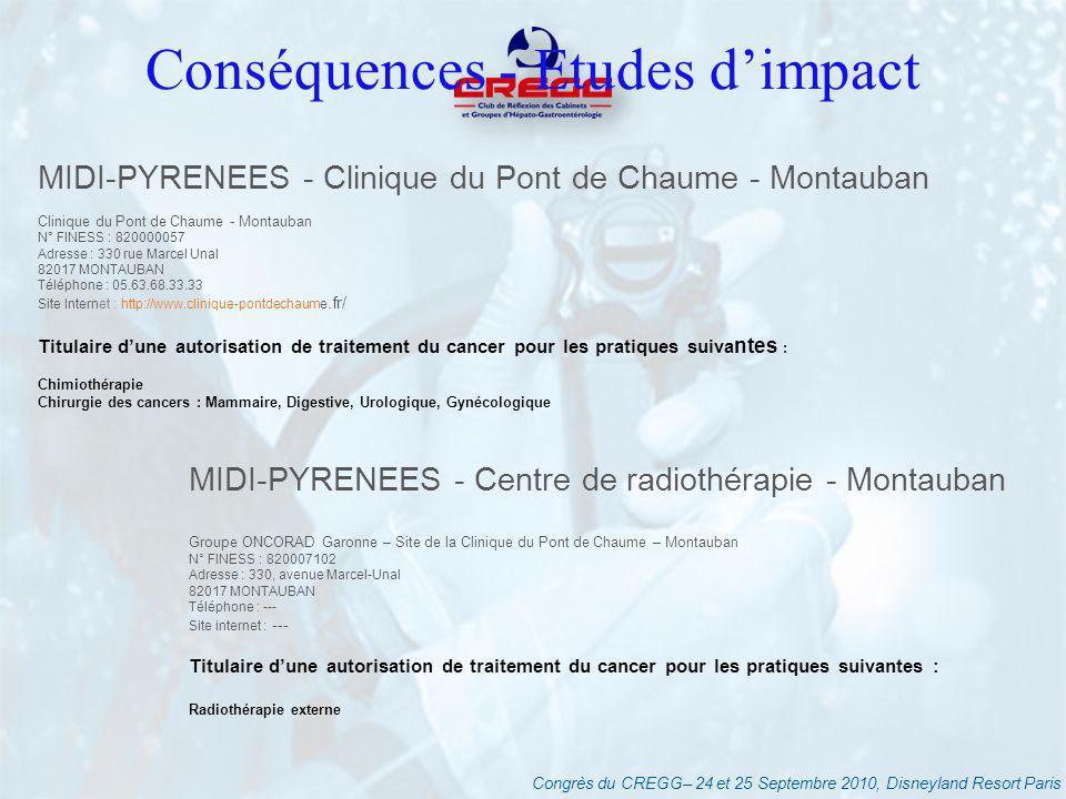 Congrès du CREGG– 24 et 25 Septembre 2010, Disneyland Resort Paris Conséquences - Etudes dimpact MIDI-PYRENEES - Clinique du Pont de Chaume - Montauba