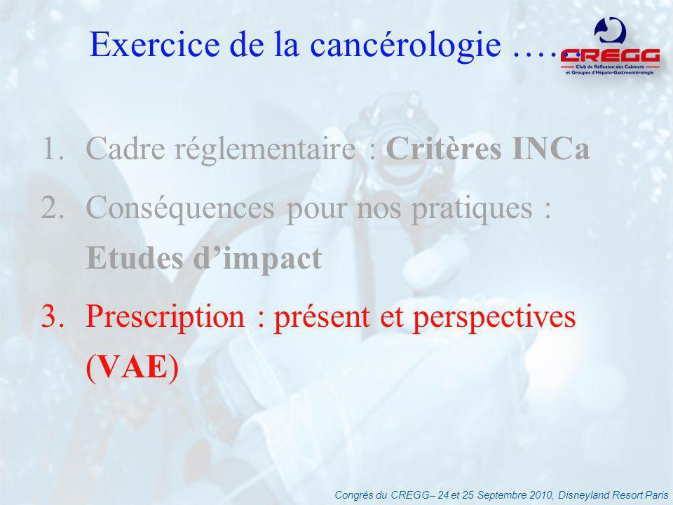 Congrès du CREGG– 24 et 25 Septembre 2010, Disneyland Resort Paris Exercice de la cancérologie …… 1.Cadre réglementaire : Critères INCa 2.Conséquences