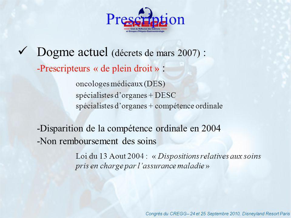 Congrès du CREGG– 24 et 25 Septembre 2010, Disneyland Resort Paris Prescription Dogme actuel (décrets de mars 2007) : -Prescripteurs « de plein droit