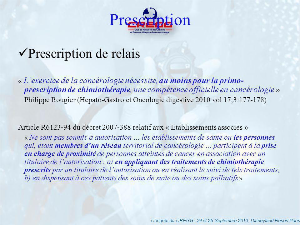Congrès du CREGG– 24 et 25 Septembre 2010, Disneyland Resort Paris Prescription Prescription de relais « Lexercice de la cancérologie nécessite, au mo