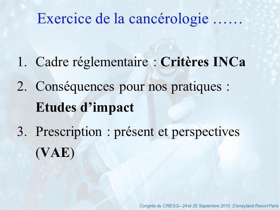 Congrès du CREGG– 24 et 25 Septembre 2010, Disneyland Resort Paris Exercice de la cancérologie …… 1.Cadre réglementaire : Critères INCa 2.Conséquences pour nos pratiques : Etudes dimpact 3.Prescription : présent et perspectives (VAE)