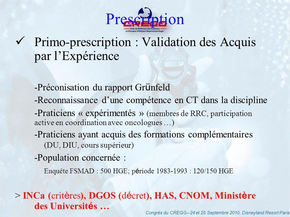 Congrès du CREGG– 24 et 25 Septembre 2010, Disneyland Resort Paris Prescription Primo-prescription : Validation des Acquis par lExpérience -Préconisat