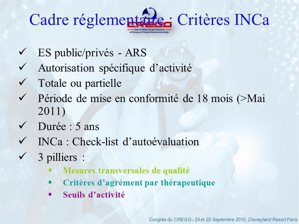 Congrès du CREGG– 24 et 25 Septembre 2010, Disneyland Resort Paris Cadre réglementaire : Critères INCa ES public/privés - ARS Autorisation spécifique