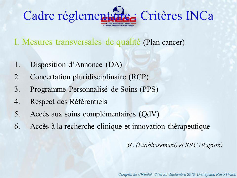 Congrès du CREGG– 24 et 25 Septembre 2010, Disneyland Resort Paris Cadre réglementaire : Critères INCa I. Mesures transversales de qualité (Plan cance