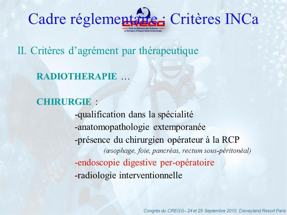 Congrès du CREGG– 24 et 25 Septembre 2010, Disneyland Resort Paris Cadre réglementaire : Critères INCa II. Critères dagrément par thérapeutique RADIOT