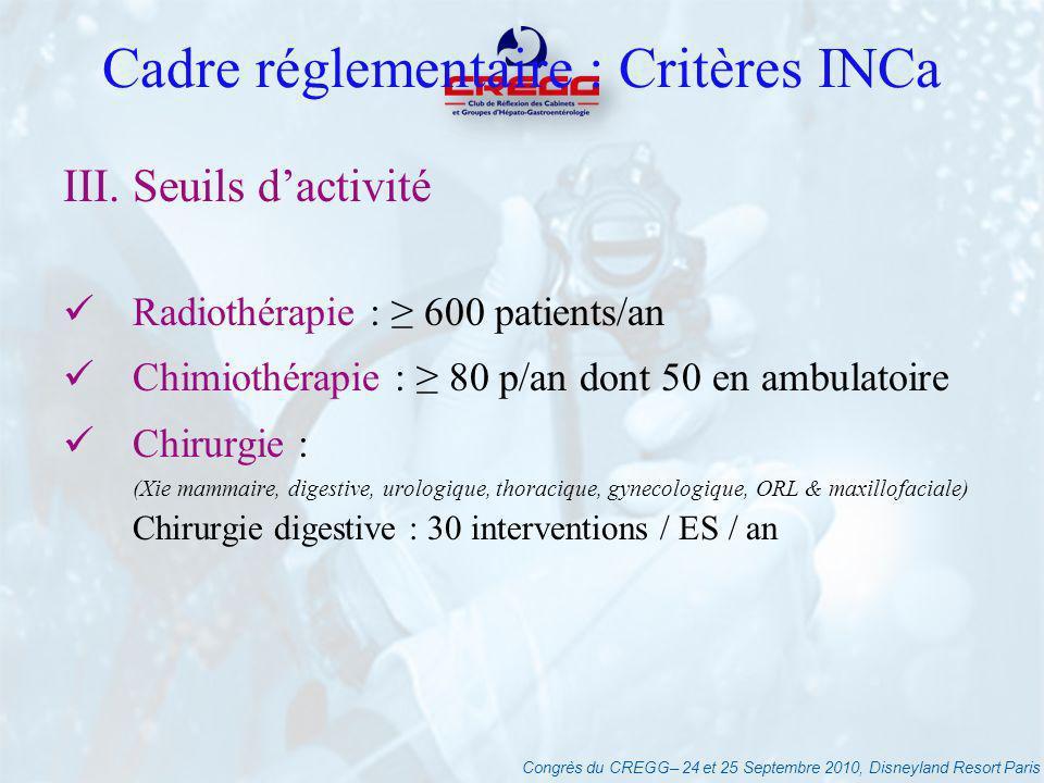 Congrès du CREGG– 24 et 25 Septembre 2010, Disneyland Resort Paris Cadre réglementaire : Critères INCa III. Seuils dactivité Radiothérapie : 600 patie