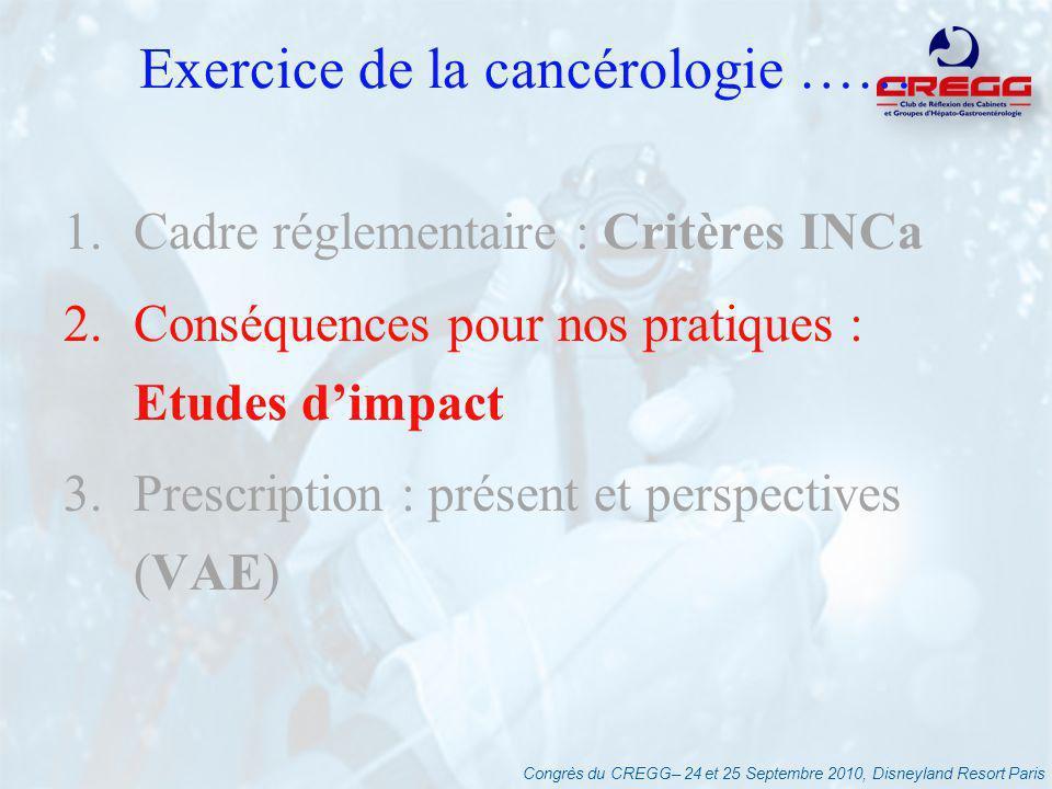 Congrès du CREGG– 24 et 25 Septembre 2010, Disneyland Resort Paris Conséquences - Etudes dimpact Etude prévisionnelle (FHF-2007) « Un enjeu majeur » -nombre de séjours à « redéployer » : 12% (public : 10% - privé : 14% - CAC : 6%) -chirurgie cancers digestifs : 8/9% -inégalité géographique : 50% activité à redéployer dans 5 régions -ES sous le seuil : public : 38%, privés : 34% Revue Hospitalière de France : Juin 2007, 516:20-31