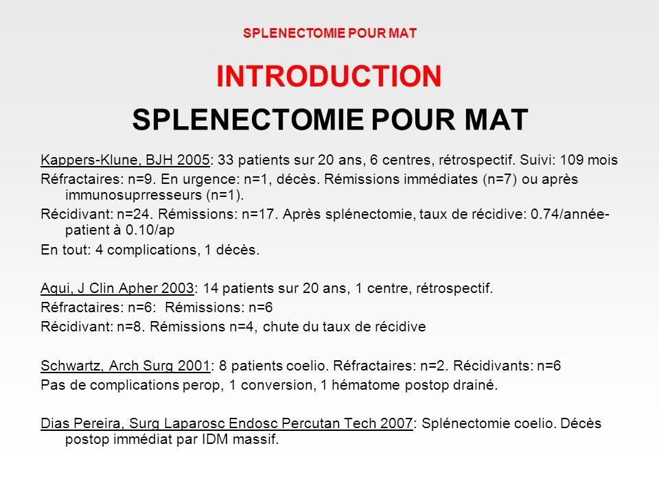 SPLENECTOMIE POUR MAT Kappers-Klune, BJH 2005: 33 patients sur 20 ans, 6 centres, rétrospectif. Suivi: 109 mois Réfractaires: n=9. En urgence: n=1, dé
