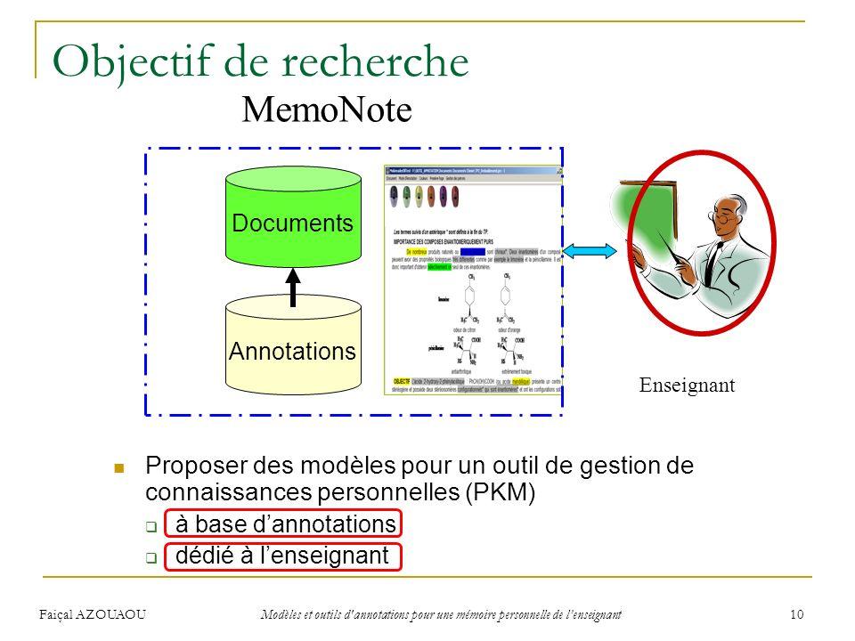 Faiçal AZOUAOU Modèles et outils d'annotations pour une mémoire personnelle de lenseignant 10 Objectif de recherche Proposer des modèles pour un outil