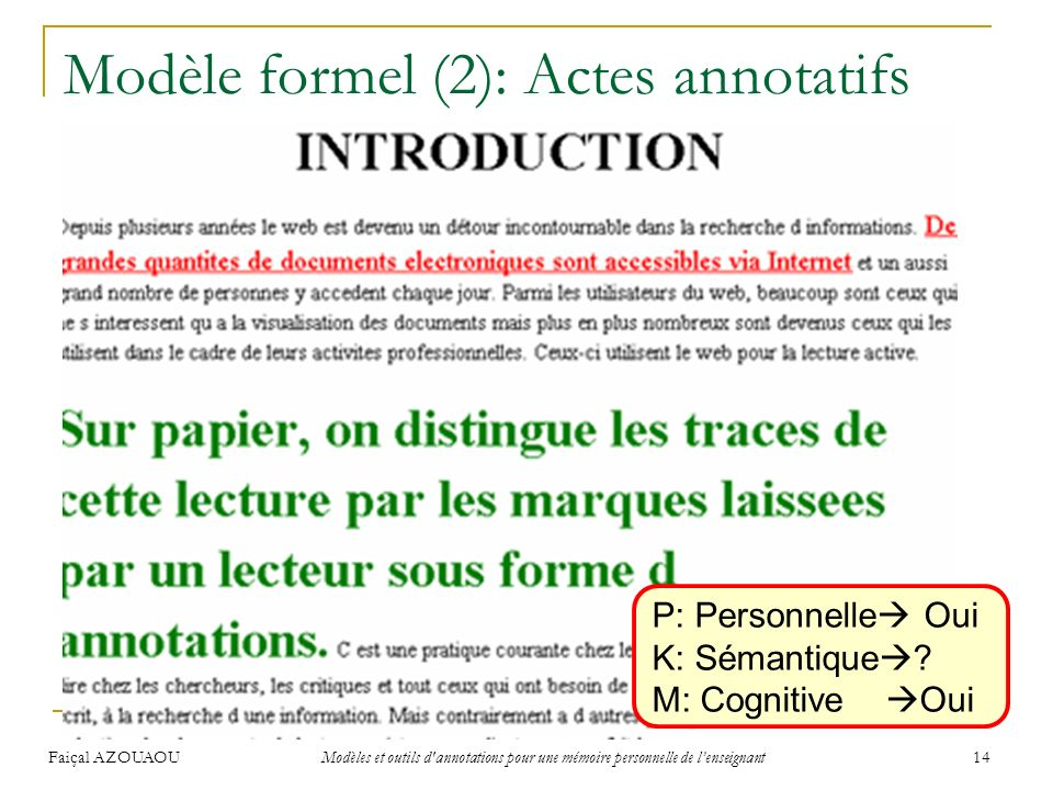 Faiçal AZOUAOU Modèles et outils d'annotations pour une mémoire personnelle de lenseignant 14 Modèle formel (2): Actes annotatifs (Tazi & Evrard 01) U