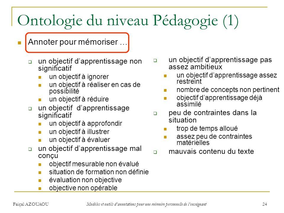 Faiçal AZOUAOU Modèles et outils d'annotations pour une mémoire personnelle de lenseignant 24 Ontologie du niveau Pédagogie (1) Annoter pour mémoriser