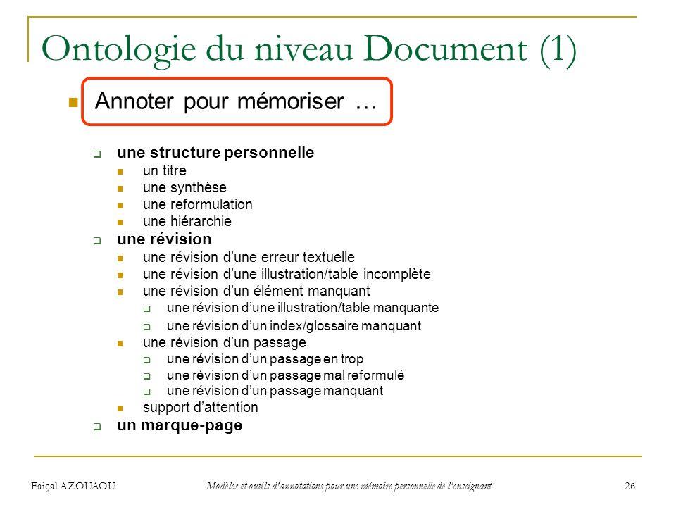 Faiçal AZOUAOU Modèles et outils d'annotations pour une mémoire personnelle de lenseignant 26 Ontologie du niveau Document (1) Annoter pour mémoriser