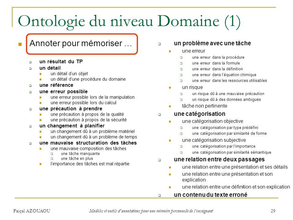 Faiçal AZOUAOU Modèles et outils d'annotations pour une mémoire personnelle de lenseignant 29 Ontologie du niveau Domaine (1) Annoter pour mémoriser …