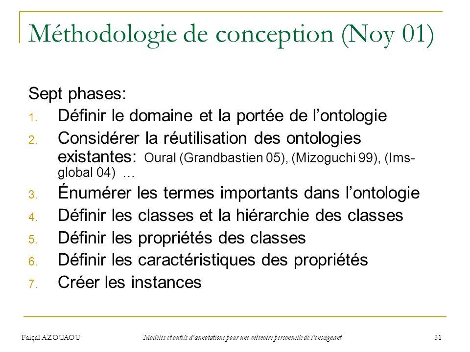 Faiçal AZOUAOU Modèles et outils d'annotations pour une mémoire personnelle de lenseignant 31 Méthodologie de conception (Noy 01) Sept phases: 1. Défi
