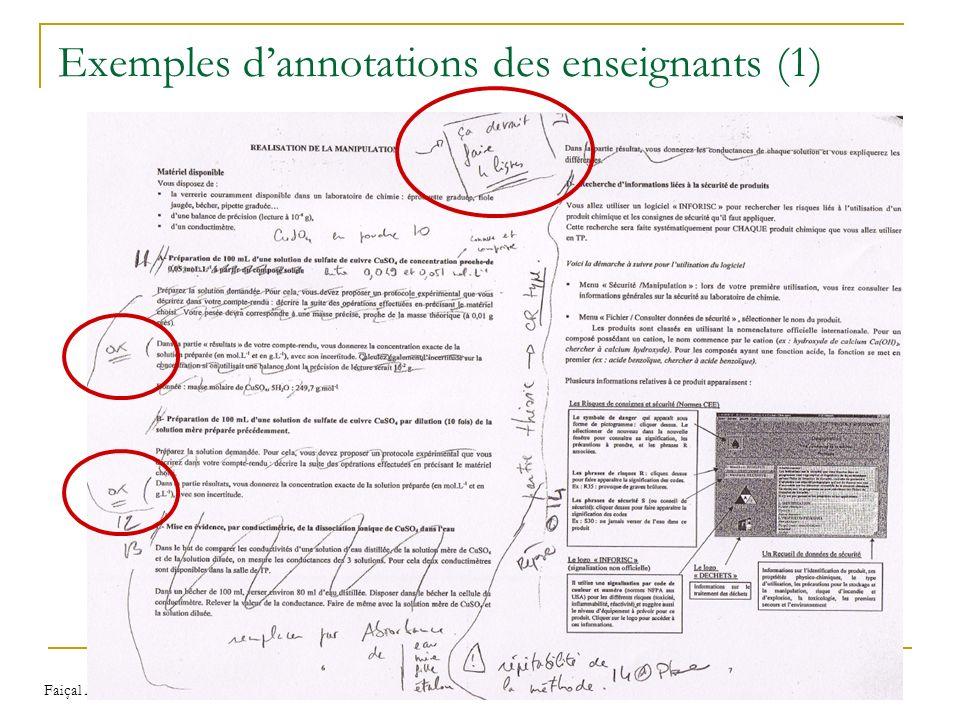 Faiçal AZOUAOU Modèles et outils d'annotations pour une mémoire personnelle de lenseignant 33 Exemples dannotations des enseignants (1)