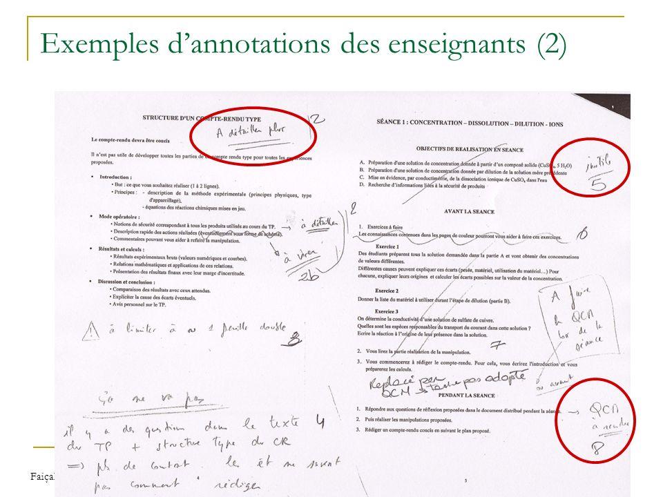 Faiçal AZOUAOU Modèles et outils d'annotations pour une mémoire personnelle de lenseignant 34 Exemples dannotations des enseignants (2)