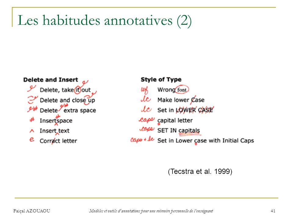Faiçal AZOUAOU Modèles et outils d'annotations pour une mémoire personnelle de lenseignant 41 Les habitudes annotatives (2) (Tecstra et al. 1999)