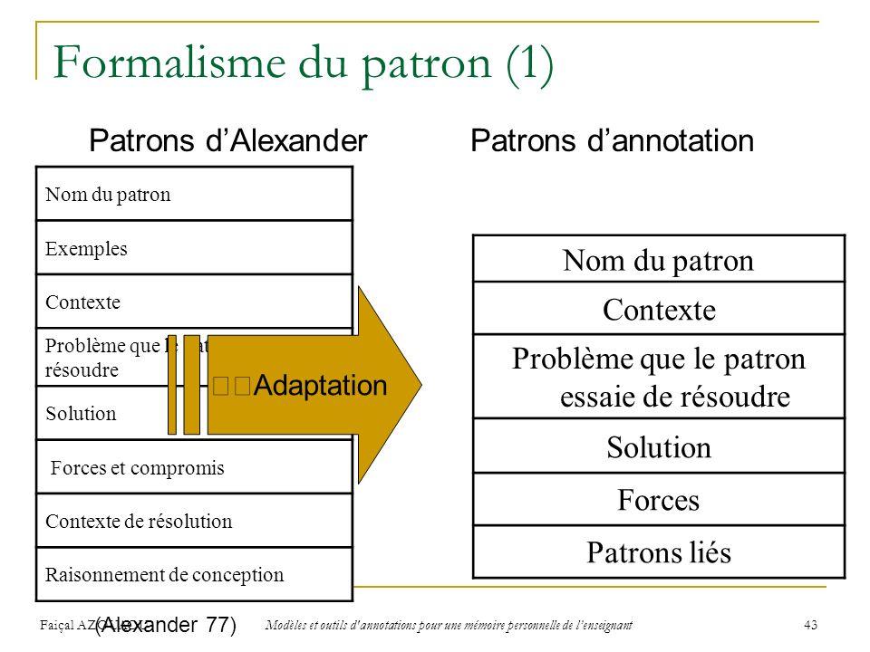 Faiçal AZOUAOU Modèles et outils d'annotations pour une mémoire personnelle de lenseignant 43 Formalisme du patron (1) Nom du patron Exemples Contexte