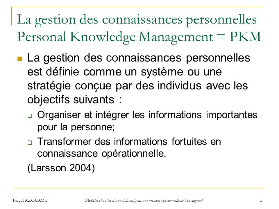 Faiçal AZOUAOU Modèles et outils d'annotations pour une mémoire personnelle de lenseignant 5 La gestion des connaissances personnelles Personal Knowle