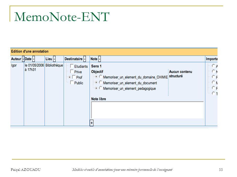 Faiçal AZOUAOU Modèles et outils d'annotations pour une mémoire personnelle de lenseignant 55 MemoNote-ENT
