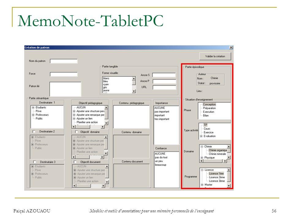 Faiçal AZOUAOU Modèles et outils d'annotations pour une mémoire personnelle de lenseignant 56 MemoNote-TabletPC Ouverture de la session