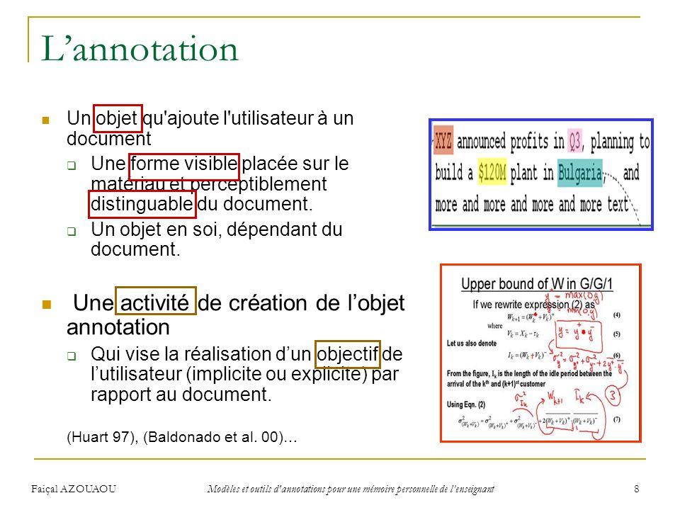 Faiçal AZOUAOU Modèles et outils d'annotations pour une mémoire personnelle de lenseignant 8 Lannotation Un objet qu'ajoute l'utilisateur à un documen