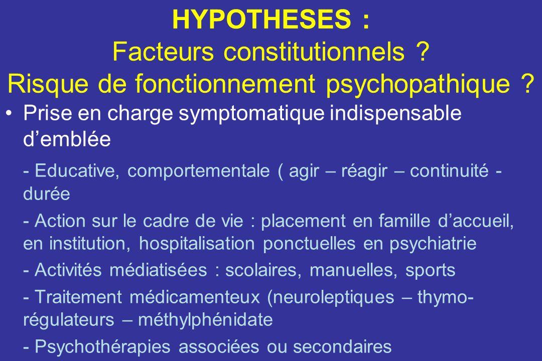 HYPOTHESES : Facteurs constitutionnels .Risque de fonctionnement psychopathique .