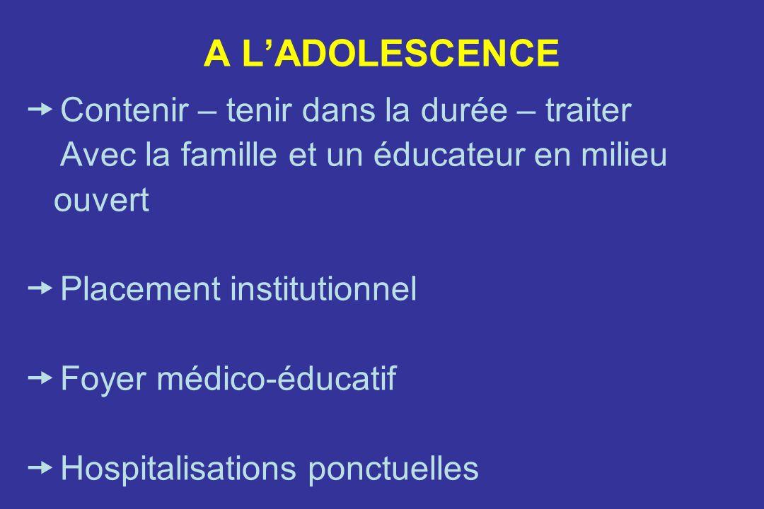 A LADOLESCENCE Contenir – tenir dans la durée – traiter Avec la famille et un éducateur en milieu ouvert Placement institutionnel Foyer médico-éducatif Hospitalisations ponctuelles