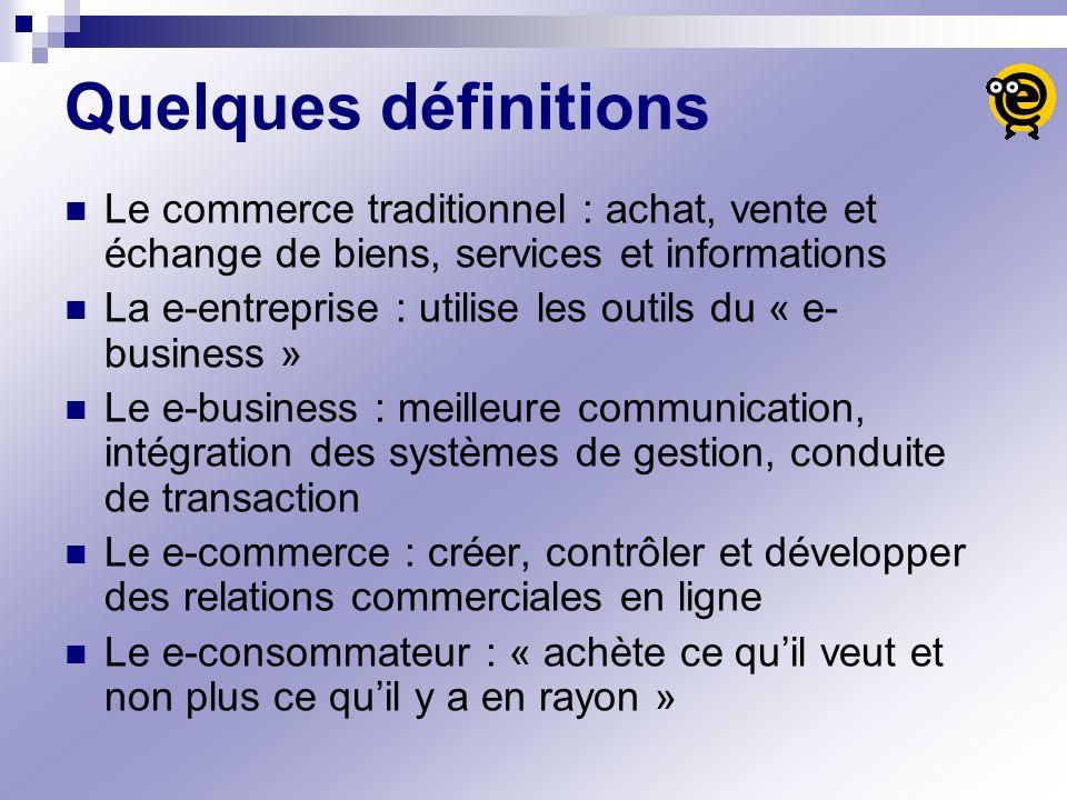 Quelques définitions Le commerce traditionnel : achat, vente et échange de biens, services et informations La e-entreprise : utilise les outils du « e