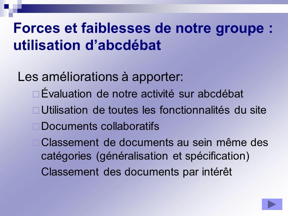 Forces et faiblesses de notre groupe : utilisation dabcdébat Les améliorations à apporter: Évaluation de notre activité sur abcdébat Utilisation de to