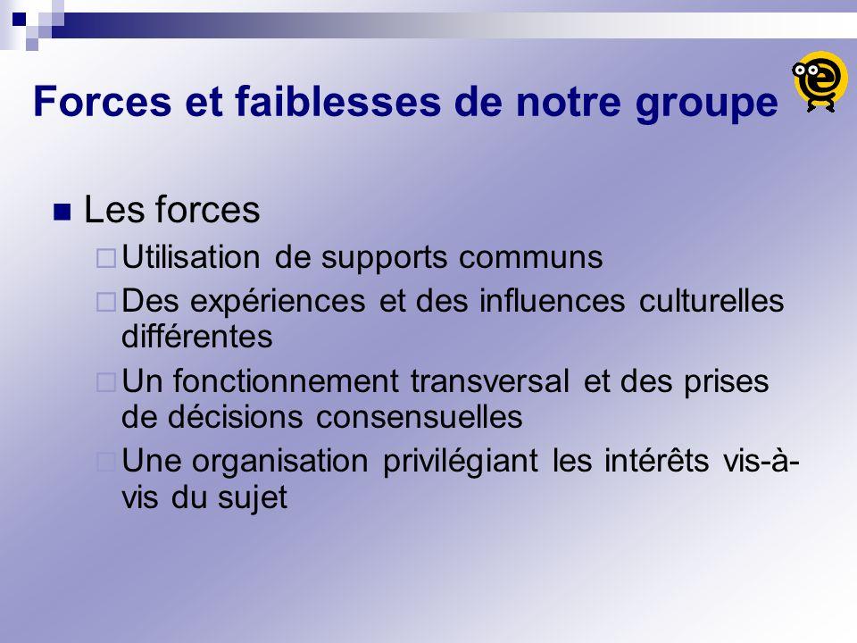 Forces et faiblesses de notre groupe Les forces Utilisation de supports communs Des expériences et des influences culturelles différentes Un fonctionn
