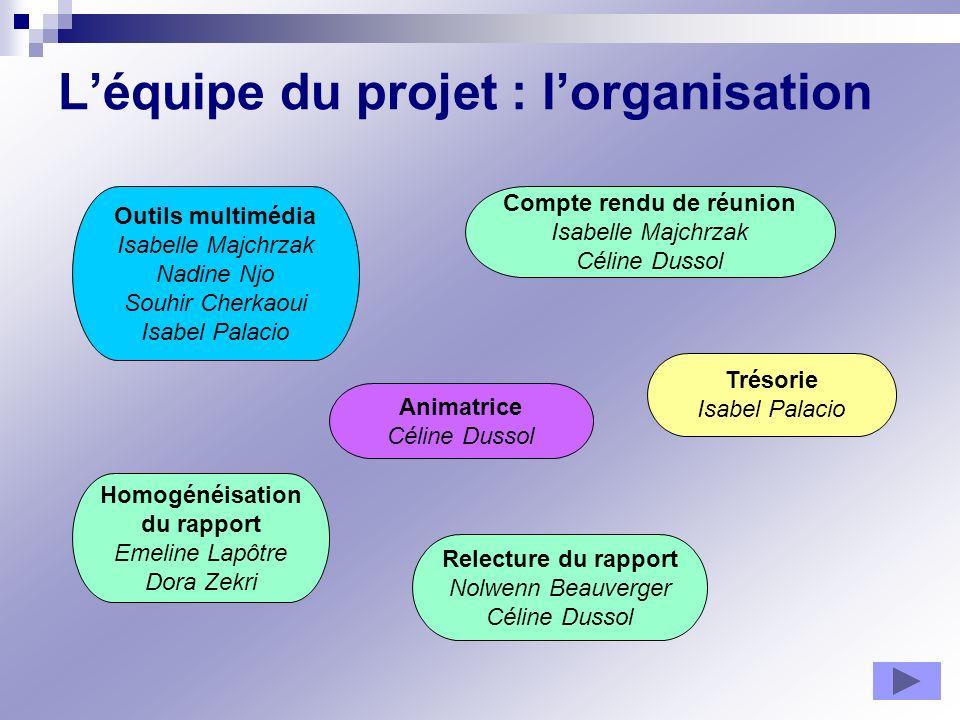 Léquipe du projet : lorganisation Animatrice Céline Dussol Homogénéisation du rapport Emeline Lapôtre Dora Zekri Relecture du rapport Nolwenn Beauverg