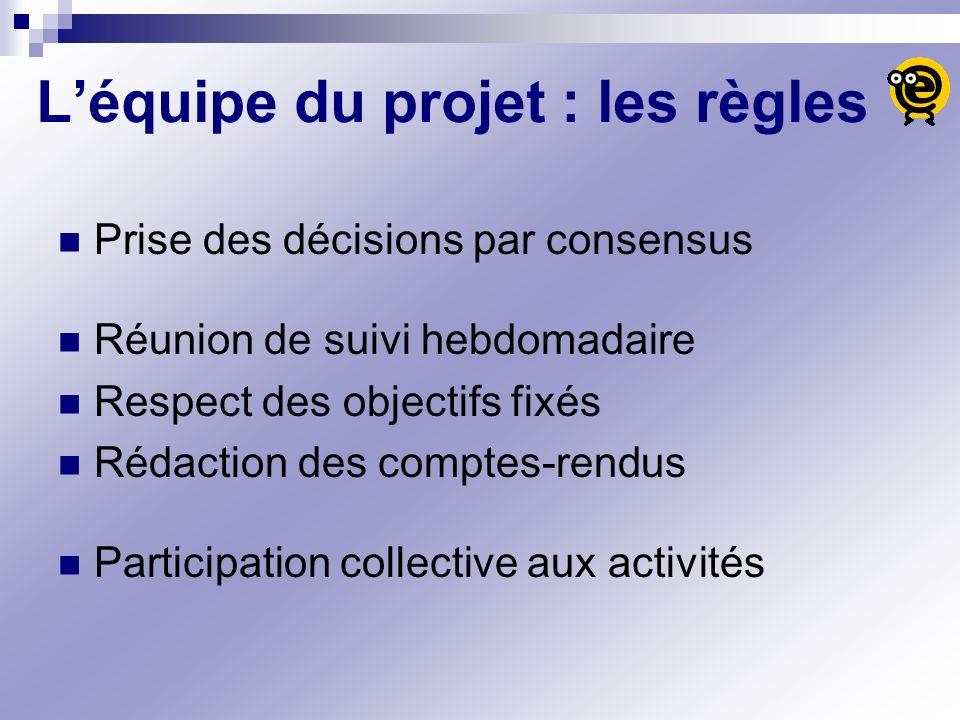 Léquipe du projet : les règles Prise des décisions par consensus Réunion de suivi hebdomadaire Respect des objectifs fixés Rédaction des comptes-rendu