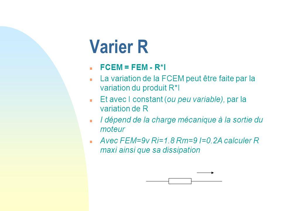 Varier R n FCEM = FEM - R*I n La variation de la FCEM peut être faite par la variation du produit R*I n Et avec I constant (ou peu variable), par la v