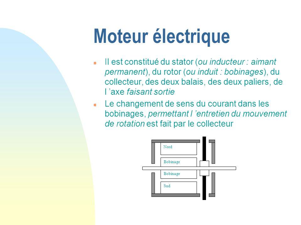 Moteur électrique n Il est constitué du stator (ou inducteur : aimant permanent), du rotor (ou induit : bobinages), du collecteur, des deux balais, de