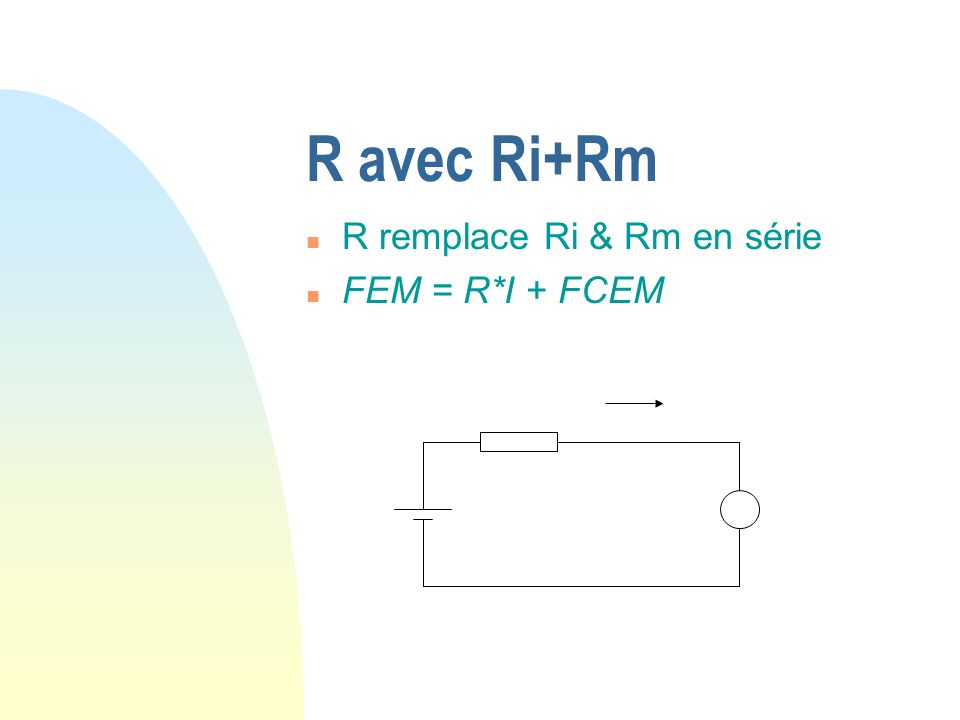 R avec Ri+Rm n R remplace Ri & Rm en série n FEM = R*I + FCEM
