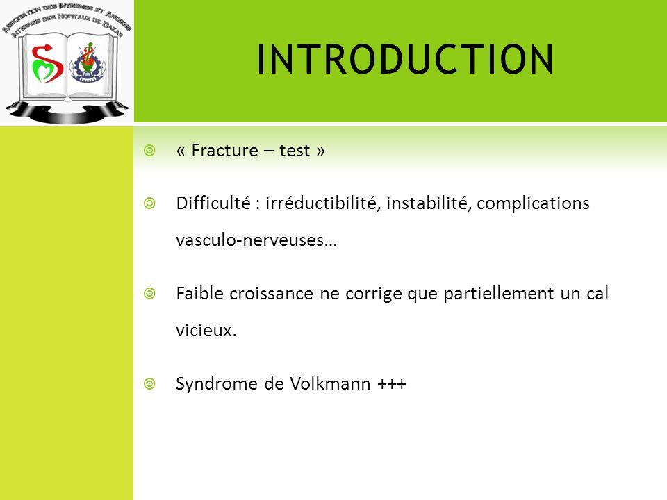 INTRODUCTION « Fracture – test » Difficulté : irréductibilité, instabilité, complications vasculo-nerveuses… Faible croissance ne corrige que partiell