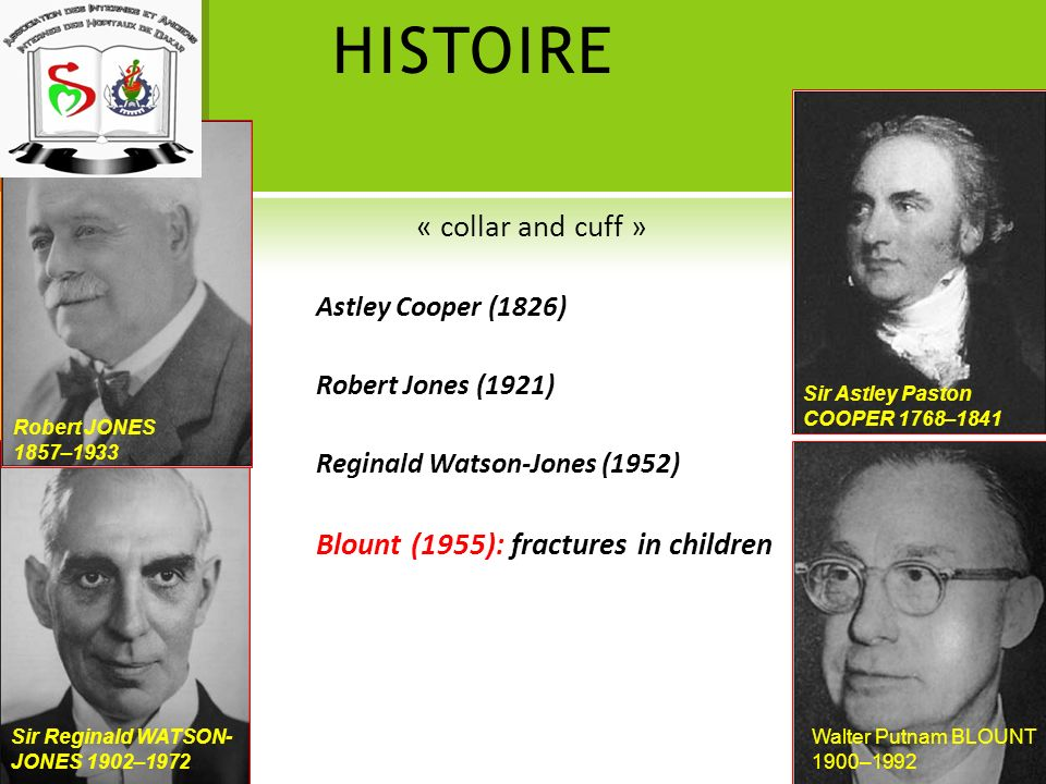 HISTOIRE « collar and cuff » Astley Cooper (1826) Robert Jones (1921) Reginald Watson-Jones (1952) Blount (1955): fractures in children Sir Reginald W