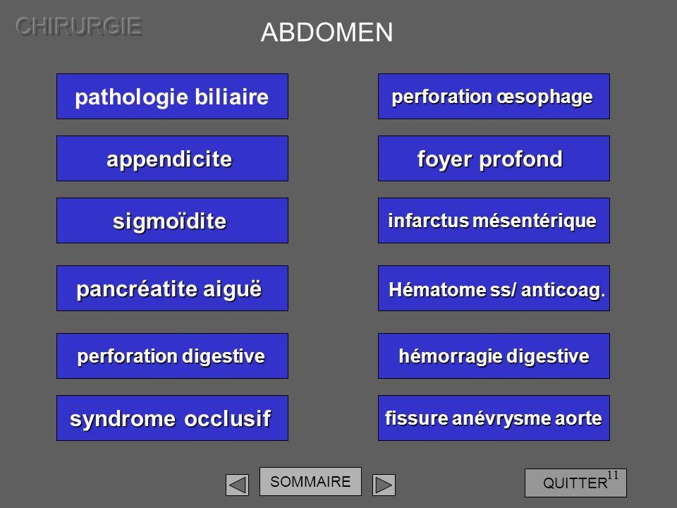 SOMMAIRE QUITTER 11 pathologie biliaire ABDOMEN appendicite sigmoïdite pancréatite aiguë pancréatite aiguë perforation digestive perforation digestive