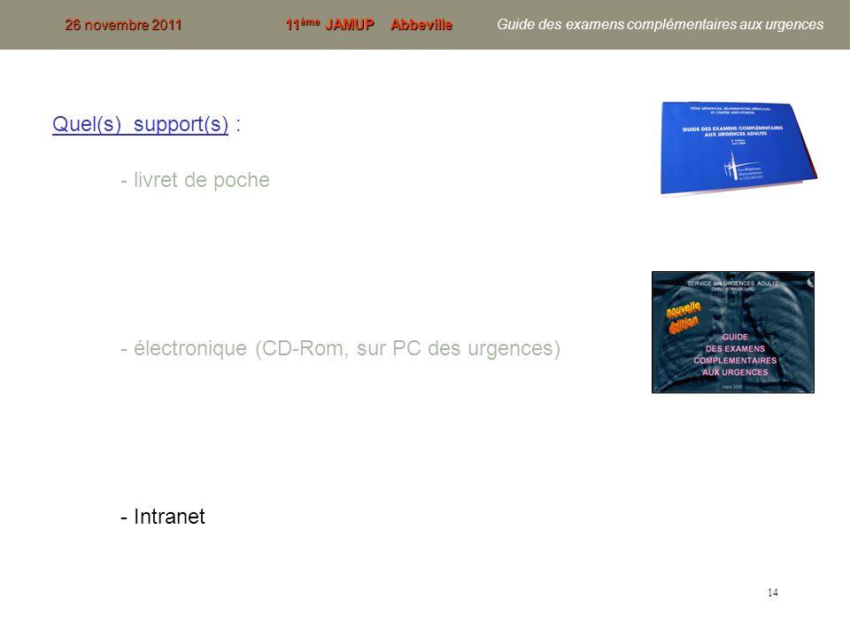 14 Quel(s) support(s) : - livret de poche - électronique (CD-Rom, sur PC des urgences) - Intranet 26 novembre 201111 ème JAMUP Abbeville 26 novembre 2