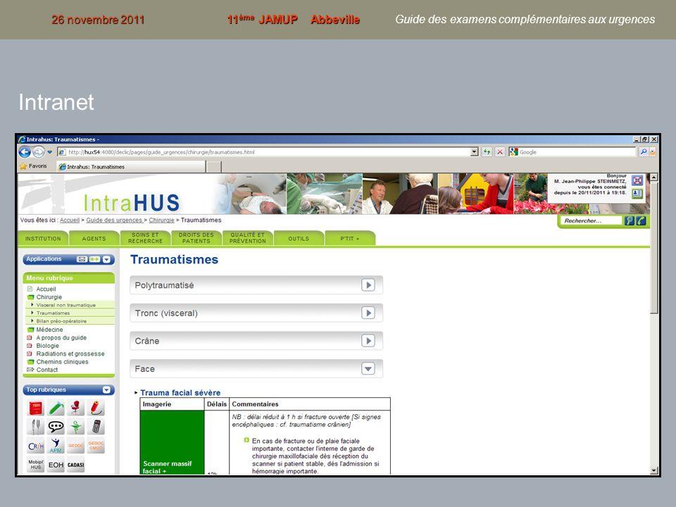 15 26 novembre 201111 ème JAMUP Abbeville 26 novembre 2011 11 ème JAMUP Abbeville Guide des examens complémentaires aux urgences Intranet