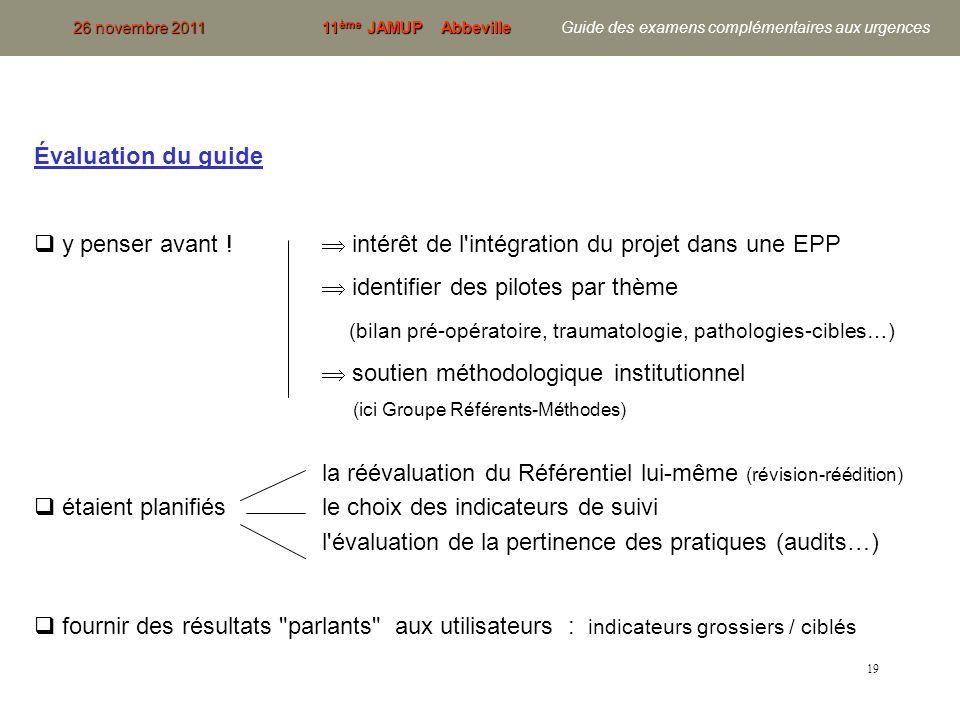 19 Évaluation du guide y penser avant ! intérêt de l'intégration du projet dans une EPP identifier des pilotes par thème (bilan pré-opératoire, trauma