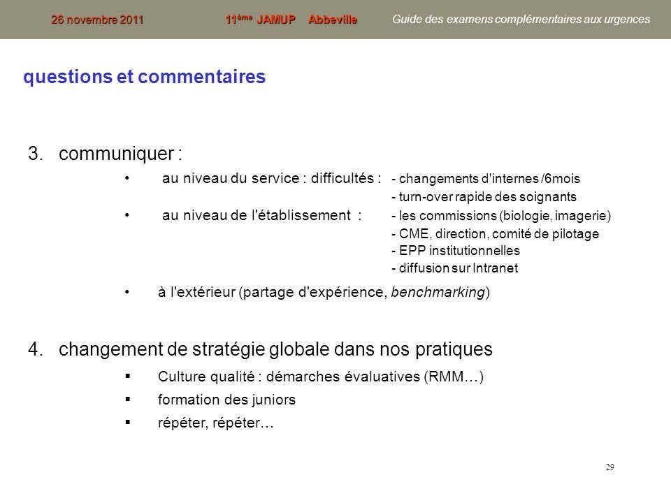 29 3. communiquer : au niveau du service : difficultés : - changements d'internes /6mois - turn-over rapide des soignants au niveau de l'établissement