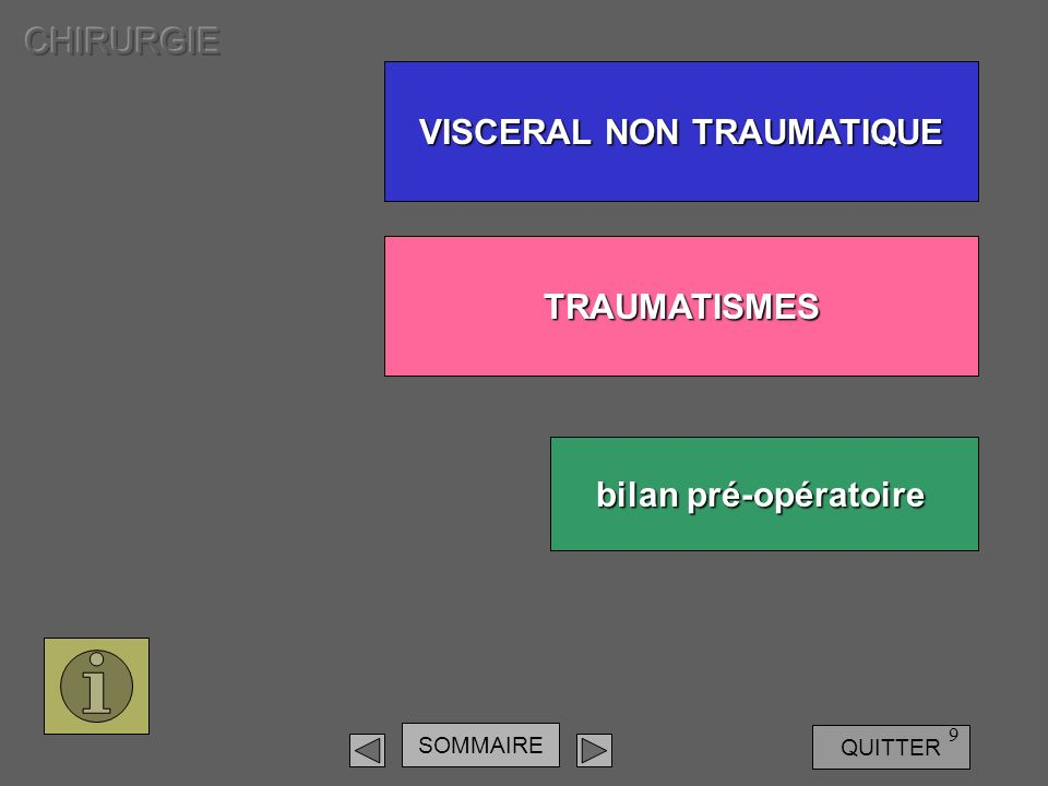 SOMMAIRE QUITTER 9 VISCERAL NON TRAUMATIQUE VISCERAL NON TRAUMATIQUE TRAUMATISMES bilan pré-opératoire bilan pré-opératoire