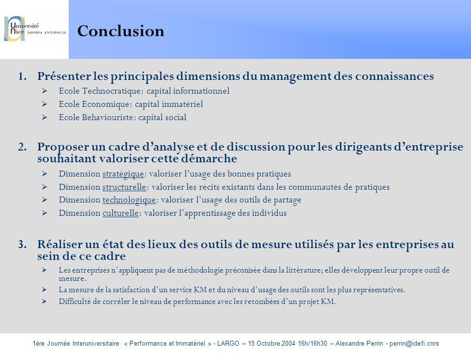 1ère Journée Interuniversitaire « Performance et Immatériel » - LARGO – 15 Octobre 2004 16h/16h30 – Alexandre Perrin - perrin@idefi.cnrs Conclusion 1.