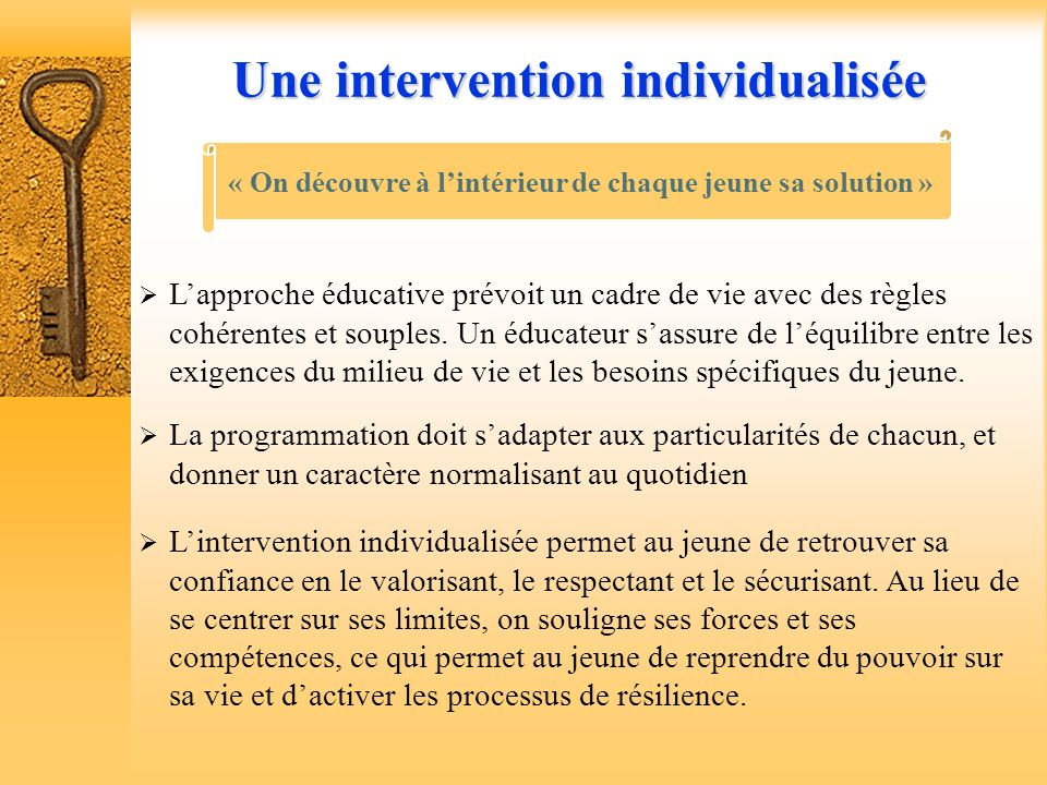 Les grands « piliers » guidant lintervention éducative IndividualiserDépathologiserSocialiserCollaborerIndividualiserDépathologiserSocialiserCollabore
