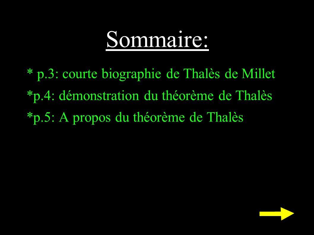 Sommaire: * p.3: courte biographie de Thalès de Millet *p.4: démonstration du théorème de Thalès *p.5: A propos du théorème de Thalès