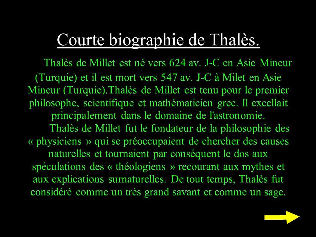 Courte biographie de Thalès. Thalès de Millet est né vers 624 av. J-C en Asie Mineur (Turquie) et il est mort vers 547 av. J-C à Milet en Asie Mineur