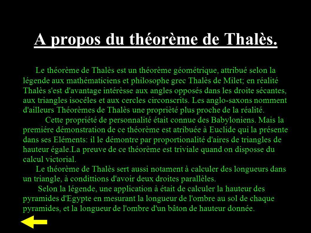 A propos du théorème de Thalès. Le théorème de Thalès est un théorème géométrique, attribué selon la légende aux mathématiciens et philosophe grec Tha